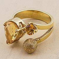 Gold plated citrine wrap ring, 'Three Stars' - Gold Plated Sterling Silver Citrine Wrap Ring from Peru
