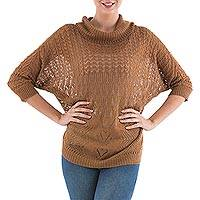 Pullover sweater, 'Evening Flight in Copper' - Brown Pullover Sweater with Three Quarter Length Sleeves