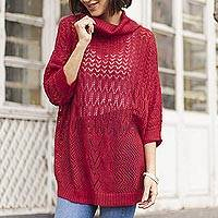 Pullover sweater, 'Evening Flight in Red' - Red Pullover Sweater with Three Quarter Length Sleeves