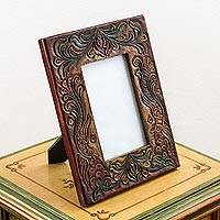 Leather and wood photo frame, 'Memories Take Flight' (5x7) - Embossed Leather Wood Photo Frame Floral Bird (5x7) Peru
