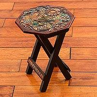 Leather embossed wood folding stool, 'Hexagon Paradise Bird' - Wood and Leather Hexagon Folding Stool Bird Motif from Peru