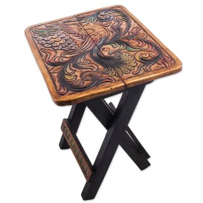 Leather embossed wood folding stool, 'Square Paradise Bird' - Square Bird Motif Wood and Leather Folding Stool from Peru