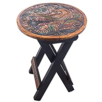 Leather embossed wood folding stool, 'Paradise Bird in Beige' - Wood and Leather Round Folding Stool Bird Motif from Peru