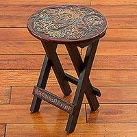 Leather embossed wood folding stool, 'Paradise Bird in Brown' - Hand Made Round Wood Folding Stool Bird Motif from Peru