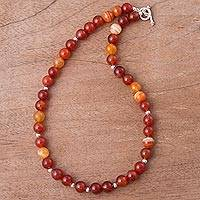 Carnelian and silver beaded necklace, 'Carnelian Beauty' - Artisan Crafted Carnelian and Silver Necklace from Peru