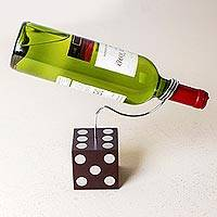 Wood and aluminum wine bottle holder, 'Black Die' - Wood Aluminum Wine Holder Die Shape from Peru