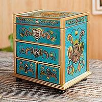 Reverse painted glass jewelry box, 'Floral Drawers' - Teal Wood Jewelry Box with Floral Motifs from Peru