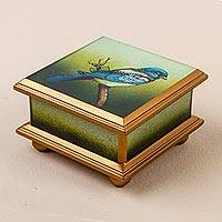 Reverse-painted glass box, 'Blue Feathers' - Reverse Painted Glass Box with Blue Bird from Peru