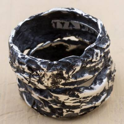 Sterling Silver Oxidized Band Ring from Peru