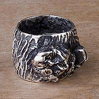 Sterling silver band ring, 'Modern Topography' - Hand Made Sterling Silver Cocktail Ring from Peru