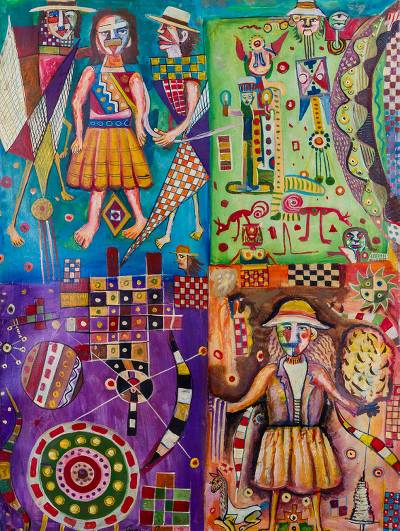 Multicolored Cubist Painting of People from Peru