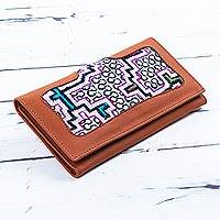 Leather wallet, 'Amazonian Elegance' - Hand Crafted Peruvian Leather Wallet with Shipibo Design