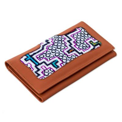 Hand Crafted Peruvian Leather Wallet with Shipibo Design