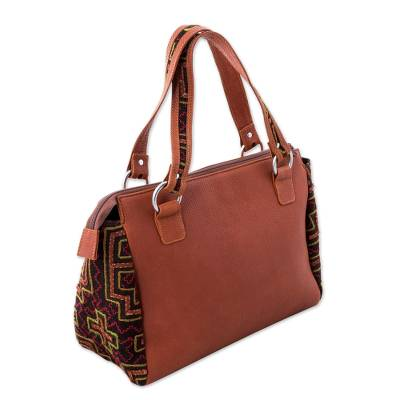 Cotton Accent Leather Handbag in Spice from Peru