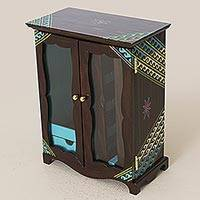 Recycled wood jewelry cabinet, 'Paqari Sunrise' - Hand Painted Recycled Wood Jewelry Armoire from Peru