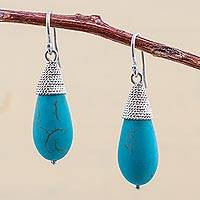 Sterling silver dangle earrings, 'Blue Fruits' - Sterling Silver Reconstituted Turquoise Dangle Earrings Peru