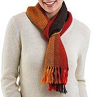 100% alpaca scarf, 'Autumn Stripes' - Hand Woven Multicolored 100% Alpaca Scarf from Peru