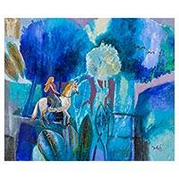 'Blue Passage' - Expressionist Painting of Girl with Horse from Peru
