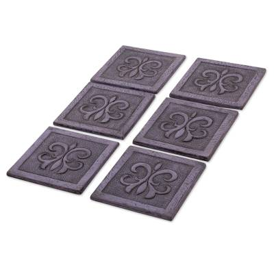 Black Embossed Leather Coasters (Set of 6) from Peru