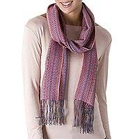 Alpaca and silk blend scarf, 'Pastel Pink Andean Colors' - Hand Woven Alpaca Silk Blend Scarf in Pastel Pink from Peru