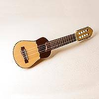 Wood charango guitar, 'Musical Bird' - Peruvian Traditional Charango Guitar with Nazca Bird