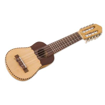 Wood charango guitar, 'Musical Spider' - Nazca Spider on Traditional Peruvian Charango Guitar