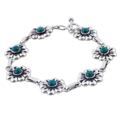 Sterling Silver Chrysocolla Floral Link Bracelet Peru
