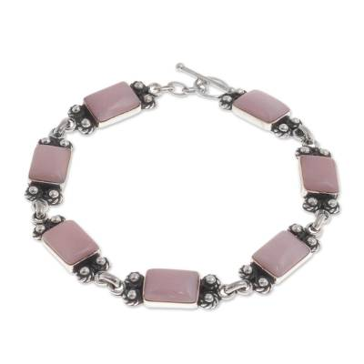Pink Opal and Sterling Silver Link Bracelet from Peru