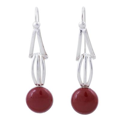 Jasper and Sterling Silver Dangle Earrings from Peru