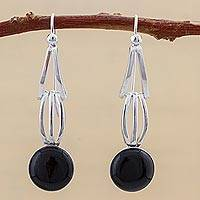 Obsidian dangle earrings, 'Eyes of the Universe' - Obsidian and Sterling Silver Dangle Earrings from Peru