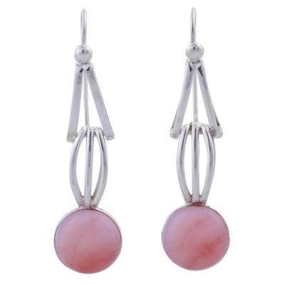 Pink Opal and Sterling Silver Dangle Earrings from Peru