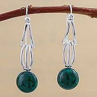 Chrysocolla dangle earrings, 'Radiant Jungle' - Chrysocolla and Sterling Silver Dangle Earrings from Peru