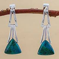 Chrysocolla dangle earrings, 'Distant Mountains' - Chrysocolla Sterling Silver Triangle Dangle Earrings Peru