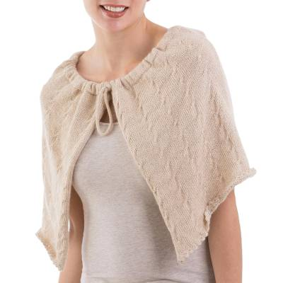Beige 100% Baby Alpaca Wool Capelet from Peru