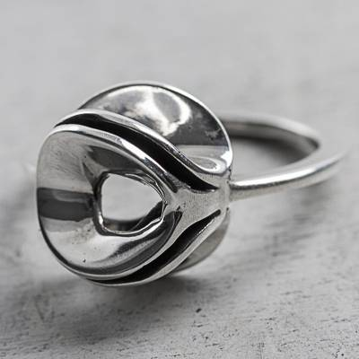 Modern Design Sterling Silver Cocktail Ring from Peru
