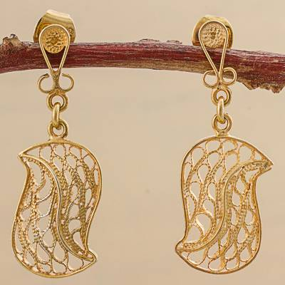 Gold plated sterling silver filigree dangle earrings, 'Regal Leaf' - Gold Plated Sterling Silver Dangle Earrings from Peru