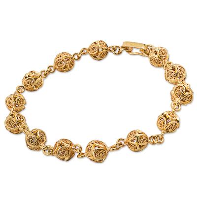 Gold Plated Sterling Silver Filigree Link Bracelet Peru