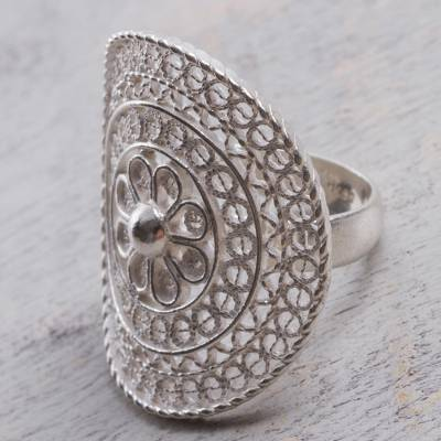 daisy silver ring for men
