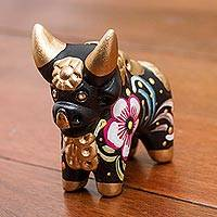 Ceramic figurine, 'Little Black Pucara Bull' - Hand Painted Ceramic Floral Bull in Black from Peru