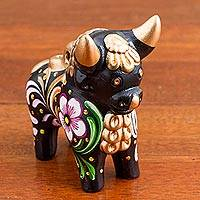 Ceramic figurine, 'Black Pucara Bull' - Hand Painted Floral Ceramic Bull in Black from Peru