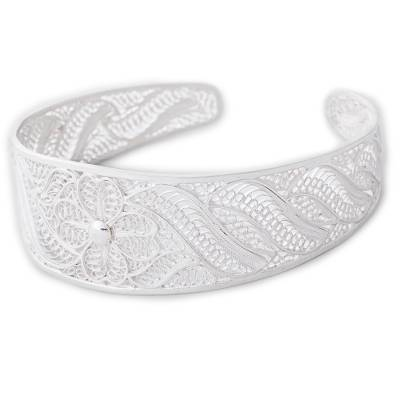 Sterling Silver Filigree Floral Cuff Bracelet from Peru
