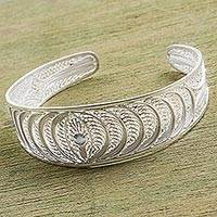 Sterling silver filigree cuff bracelet, 'Sparkling Crescents' - Sterling Silver Filigree Cuff Bracelet from Peru