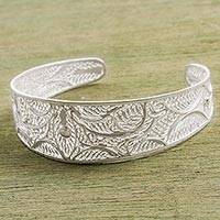 Sterling silver filigree cuff bracelet, 'Vibrant Forms' - Hand Made Sterling Silver Filigree Cuff Bracelet from Peru