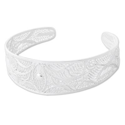 Hand Made Sterling Silver Filigree Cuff Bracelet from Peru