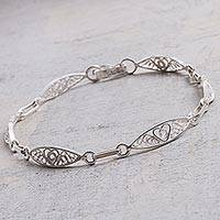 Sterling silver filigree link bracelet, 'Sweet Hearts' - Sterling Silver Filigree Heart Motif Link Bracelet from Peru