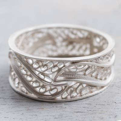 antique ladies rings - Artisan Crafted 950 Silver Filigree Band Ring from Peru