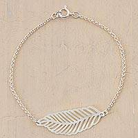 Sterling silver pendant bracelet, 'Floating Feather' - Sterling Silver Feather Pendant Bracelet from Peru