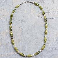 Serpentine beaded necklace, 'Hillside Beauty' - Handmade 950 Silver Serpentine Beaded Necklace from Peru