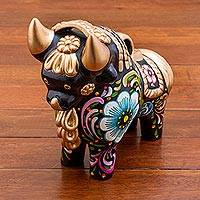 Ceramic figurine, 'Big Colorful Pucara Bull' - Hand Painted Ceramic Bull with Floral Motifs from Peru