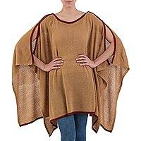 Poncho, 'Grace and Flow' - Alpaca Wool Blend Neutral Peruvian Poncho in Camel